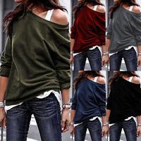 Autumn Women Long Sleeve One Shoulder Casual Long Shirt Tops Blouse Loose Jumper