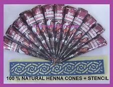 12 Natural Henna Cone Temporary Tattoo kit Body Art Mehndi wedding 100% Herbal