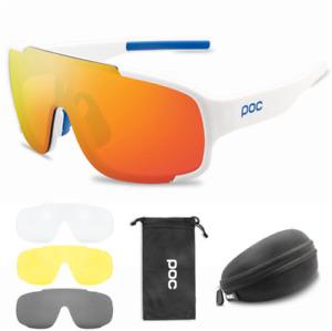 POC Cycling Biker Glasses Sunglasses UV400 Polarized Glasses W/ 3pc Replace Lens