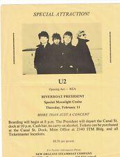 RARE U2 Riverboat President New Orleans Moonlight Cruise Concert Handbill Flyer