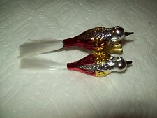 PLEASE L@@K Christmas Ornament 2 Red Gold And SilverGlass Song Birds On A Clip