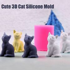 Lovely 3D Cat Silicone Candle Soap Mold Fondant Chocolate DIY Decor Baking Mould