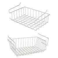 White Under Shelf Table Storage Basket Rack Kitchen Wire Mesh Cabinet Organiser