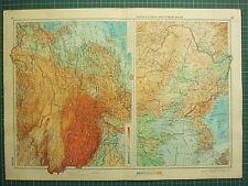 1955 Gran Ruso Mapa ~ Corea ~ china del Tíbet Mongolia
