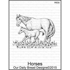 Our Daily Bread Designs HORSES Cling Stamp H656 Mare and Colt Mom and Baby Horse