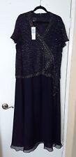 NWT $208 Jkara Navy Blue Sequin Beaded PLUS SIZE Short Sleeve Dress Size 20W