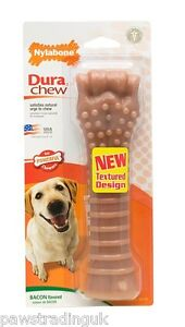 Large Bacon Flavour  Souper Nylabone Chew Dog Toy Tough Strong