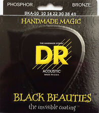 DR BKA-10 Extra Life Black Beauties Coated Acoustic Guitar Strings 10-48 Lite