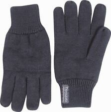 Mens Thermal Thinsulate Knitted Full Finger Gloves Winter Warm Cold Woolly Mitts Black