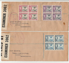 Stamps Gambia 1938 KGV1 definitives blocks 4 pair censored covers to USA customs