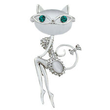 Opal Rhinestone Crystal Little Cat Brooch Pin Animal Cute Sexy Jewelry -GVUK