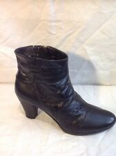 Jessica By Pavers Black Ankle Leather Boots Size 36