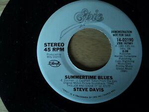 """Steve Davis - Summertime Blues -  7"""" Vinyl Single RARE US DEMO pressing"""