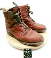 Vintage Dr Martens Red Lace Up Round Toe Leather Boots Unisex MENS 10 WMNS 11.5