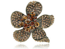 Antique Gold Flower Gems Rhinestone Petal Adjustable Rings Fashion Finger Band