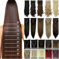 Real Natural Full Head Clip in 8Pcs 18 clips in  Hair Extensions As Human H810