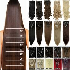 100% Natural Full Head Clip in 8Pcs 18 clips in  Hair Extensions As Human H810