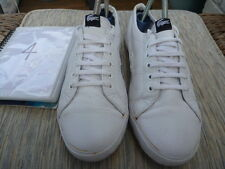 LACOSTE SIZE UK 4 WHITE LEATHER TRAINERS LACE UPS MARCEL