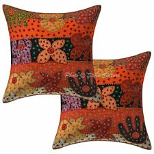 Antique Decorative Pillow Cover Abstract Embroidered Indian Cushion Cover 16""