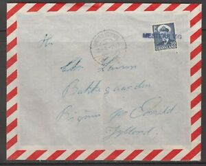 "Greenland 1957. Cover to Denmark. Line canc. ""MESTERS VIG""."