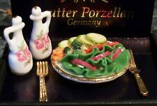 "REUTTER PORZELLAN DOLLHOUSE MINIATURE  SALAD TABLE SETTING  1"" diameter NEW MINT"