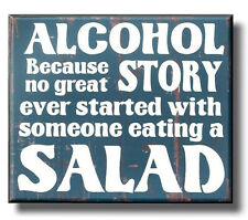 Alcohol Salad Funny Plaque Sign vintage style kitchen beer bar man cave gift