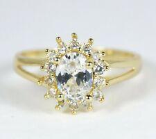 Para mujer chapado en oro anillo de cluster de cristal claro