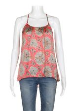COLLECTIVE CONCEPTS Tank Top XS Coral Print Blouse Racerback Crochet High Low