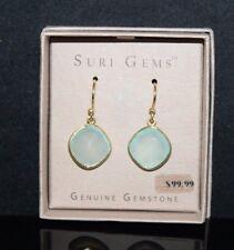 SURI Gems SS 18K Yellow Gold Plate Seafoam Chalcedony 12mm Dangling Earrings