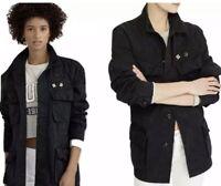 POLO RALPH LAUREN Women's Patchwork Military Army Jacket Coat Black