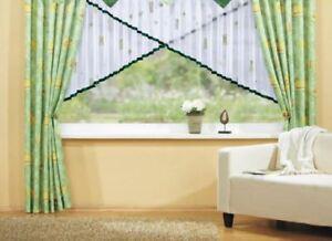 Gardine Vorhang H125cm  b450cm Kuvertstore  Voilestore weiß Apfelgrün Voile