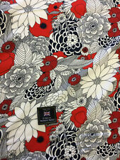 "Red & Grey ""noir"" Summer Floral 100% Viscose Summer Printed Dress Fabric."
