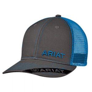Ariat Western Mens Hat Baseball Cap Mesh Back Gray & Blue Logo 1503527
