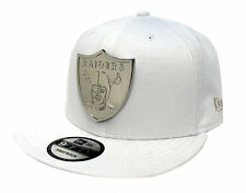Oakland Raiders Snapback New Era Metal Shield 9Fifty Cap Hat Snap Lab White NFL