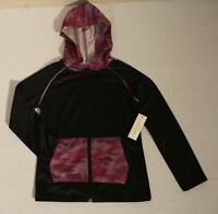 NEW Girls Hooded Jacket XS 4 - 5 Black Purple Top Full Zip Light Weight Hoodie