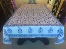 "Dilip Textiles Block Print Cotton Tablecloth ~ Floral Ethnic India ~ 106"" x 65"""
