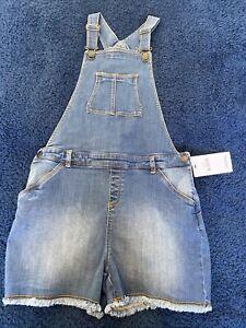 BNWT girls denim dungaree shorts Age 12-13 M&S