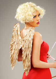 Valentines Day Cupid Gold Feather Fancy Dress Cosplay Angel Wings