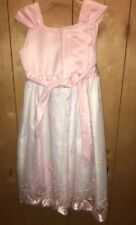 Bona Kids Pink & White Floral Beaded Wedding Dress Size 11/12 Girls