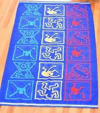 New listing Vintage 1980's Keith Haring Beach Towel 54x32 Blue Red Yellow Dancers Pride