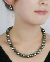 AAA 9-10 MM NATURAL South Sea BLACK PEARL NECKLACE 18'' 14K clasp