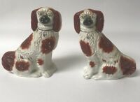 STUNNING PAIR OF ANTIQUE STAFFORDSHIRE RED & WHITE SPANIEL DOGS