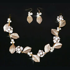 Gold Metal Leaf Pearl Beads Flower Hairpin for Women Wedding Bride Dress Jewelry