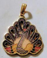 Vintage Cloisonne Peacock Pendant