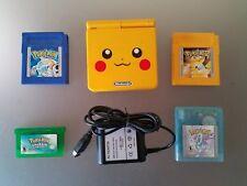 Gameboy Advance SP Pokemon Pikachu Yellow Version Nintendo system AGS-101 Bundle