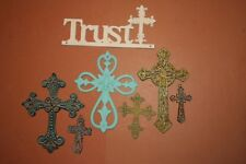 (7) Garden Cottage Design Trust In The Lord Rustic Wall Plaque Set w/ Crosses