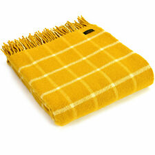 Tweedmill Textiles 100 Pure Wool Blanket Chequered Check Throw Design in Yellow