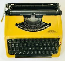 Yellow Vintage Portable Typewriter Black Keys + Case That Fits Over the Top