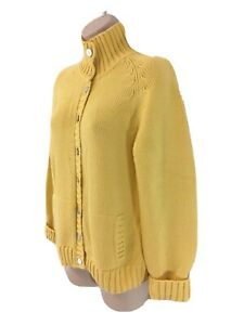 Lands End Womens M 10-12 Yellow Knit Cotton Button Front Cardigan Sweater
