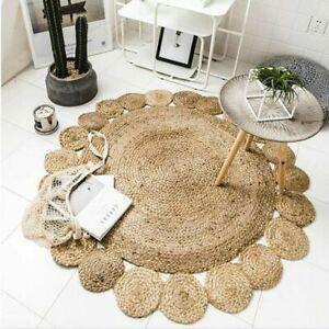 Rug 100% Natural Jute Reversible Bohemian Round Area Carpet Floor Mat Rag Rug